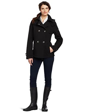 Calvin Klein Women's Double Breasted Soft Shell Peacoat, Black, Small