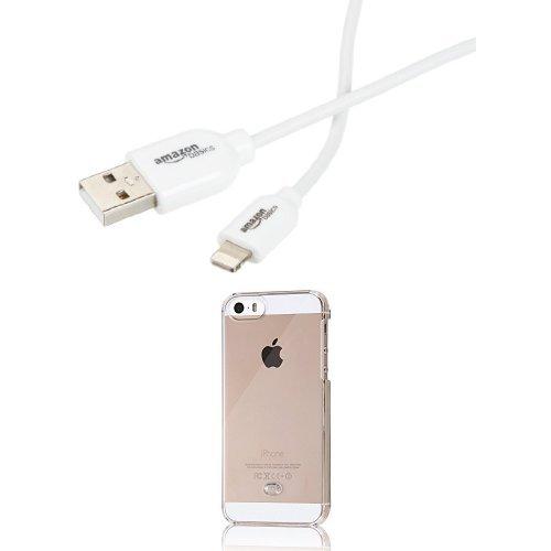 レイ・アウト iPhone SE/5s/5 ハードケース 3Hコート クリア  Amazonベーシック Apple認証 (Made for iPhone取得) iPhone5/6/6PLUS/iPad Air/iPad mini/iPod用 ライトニングUSB充電ケーブル 約90cm セット