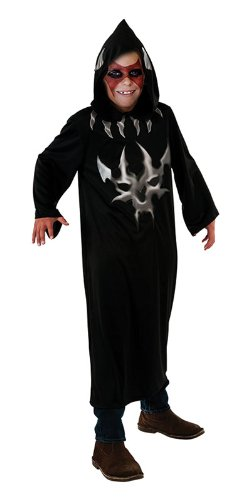Bristol Novelty Black/Silver Hooded Robe Devil Print Costume Boy's 11-14 Years
