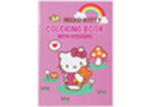 Hello kitty coloring book with stickers pink