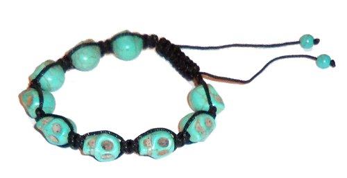 """Adjustable 8""""-13 1/3"""" Blue Howlite Skull Bracelet 01 Throat Chakra Spiritual Healing Energy (Gift Bo.."""