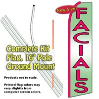 FACIALS (Green) Feather Banner Flag Kit (Flag, Pole, & Ground Mt)