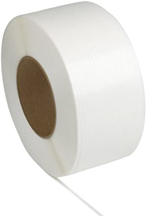 "PAC Strapping 38M.30.2212 Polypropylene Machine Grade Strapping, 12,900' Length, 3/8"" Width, White"