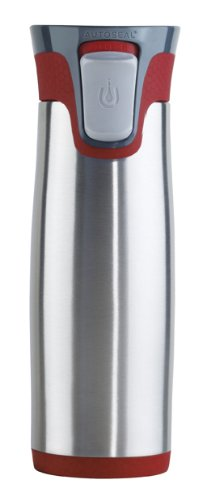 Avex Highland Travel Mug, Stainless And Red, 16-Ounce