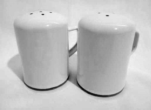 Enamelware Salt & Pepper Shaker Set, Black Rim