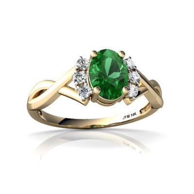 Created Emerald 14ct Yellow Gold Ring