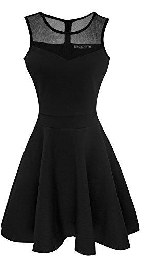 Heloise Women's A-Line Sleeveless Pleated Little Black Cocktail Party Dress (XXL, Black)