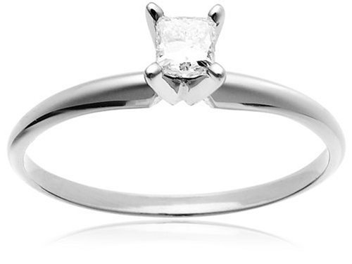 14k White Gold Princess-Cut Solitaire Engagement Ring (1/4 ct, I-J Color, I1-I2 Clarity), Size 9