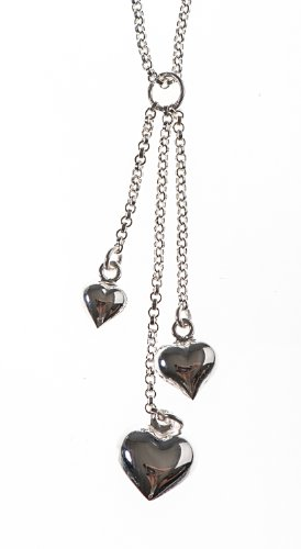 Silver 16 Inches Triple Heart Necklet