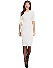 Per Una Speziale Knitted Jacquard Shift Dress with Wool