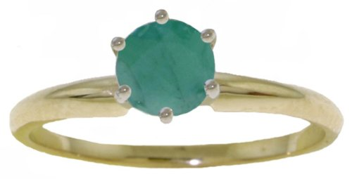 14k Solid Gold Genuine Emerald Solitaire Ring - Size 6.5