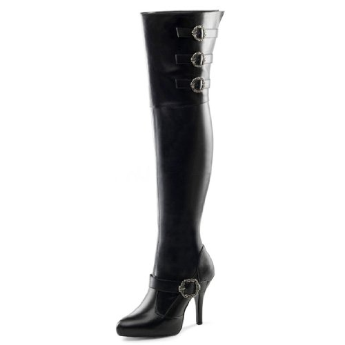 Black WIDE WIDTH WIDE SHAFT Thigh High Pirate Boots with 5 Inch Heels