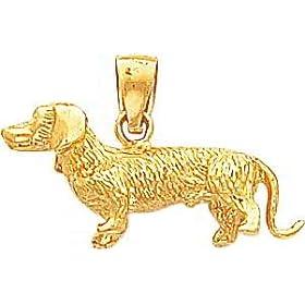 14K Gold 3D Dachshund Dog Charm