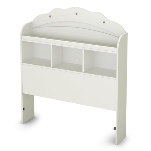 South Shore Tiara Collection Twin Bookcase Headboard, Pure White front-888855