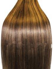 14 inch MEDIUM BROWN/ BLONDE MIX (Col 4/27). Full Head Clip in Human Hair Extensions. High quality Remy Hair!. 100g Weight
