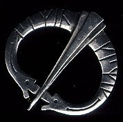 Two Dragons Runic Pewter Brooch