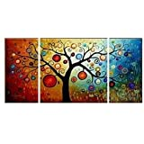 TJie Art Hand Painted Mordern Oil Paintings Wall Decor Abstract Tree Clouds Home Landscape Oil Paintings Splice 3-piece/set on Canvas