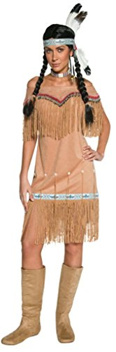Smiffy'S Women'S Authentic Western Indian Lady Costume With Dress And Fringing, Beige, Large