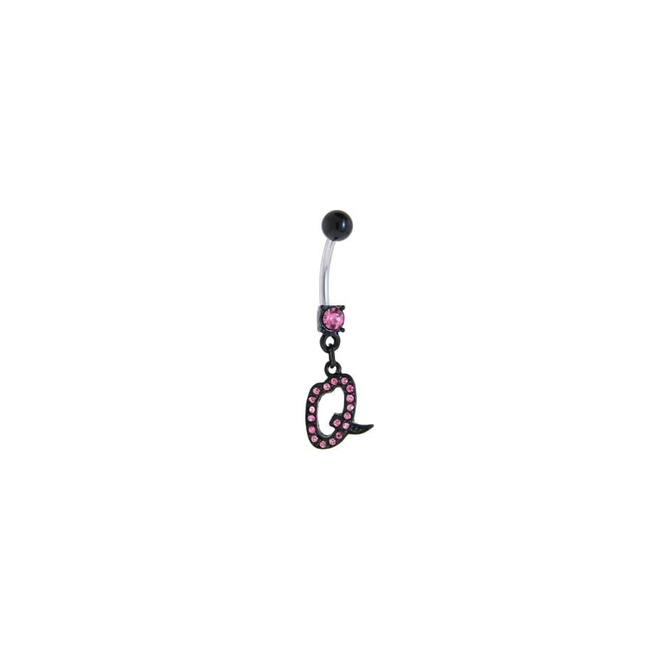Black Anodized Pink Jeweled Initial Belly Ring Letter Q Body Piercing Barbells Jewelry