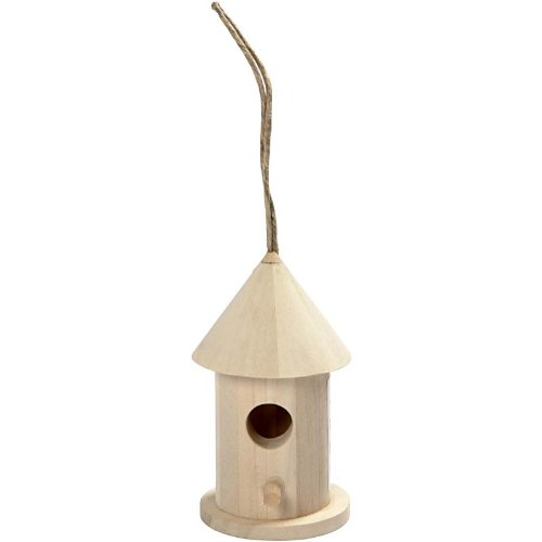 Creativ 8 cm 1-Piece Wooden Mini Round Bird House Poplar