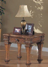 Cheap Classic Antique Finish Wood Occasional End Side Table w/Drawer (VF_700387)
