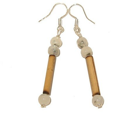 Moonstone Earrings 04 Dangle Rainbow Blue Sheen Bamboo Wood Sterling Silver Crystal Healing Gemstone 04