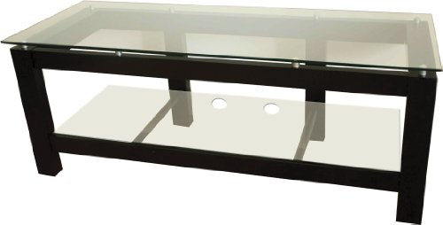 """Plateau Sl-2V (50)"""" (B) Fixed Shelf Rack Audio/Video Stand In Satin Black With Clear Glas Top"""