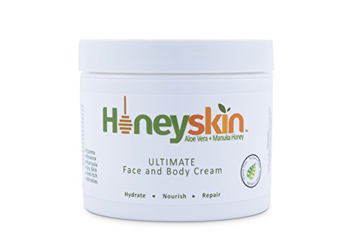 Honeyskin Organics Aloe Vera + Manuka Honey Face and Body Cream for Rosacea, Eczema, Psoriasis, Rashes, Itchiness, Redness with raw Superfoods, 4 oz. (Cream Rosacea compare prices)