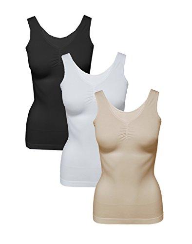 2-Stck-Damen-Form-Unterhemden-Shapewear-sanft-formend-verschiedene-Farben-kaschiert-Taille-und-Bauch-ohne-Nhte-Seamless-Gr-4042-bis-5254