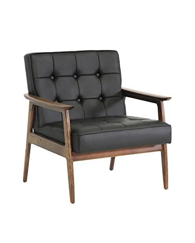 Baxton Studio Stratham Mid-Century Club Chair, Black