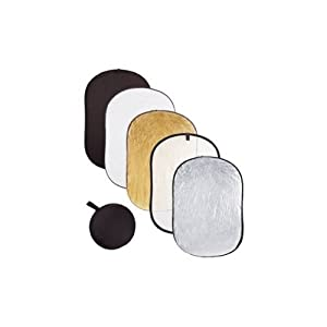 Fancierstudio 40x60-Inch 5 in 1 Reflector Multi Disc Light Reflector Portable Lightweight in 5 Color and Translucent-Gold/Silver/Black/White