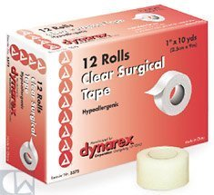 Clear Surgical Tape, 1 x 10 yds 144 Case by Dyranex