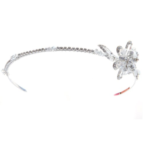 EM1023 Crystal Silver Tone Bridal Side Tiara