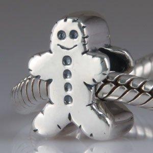 Gingerbread Man - Sterling Silver Charm Bead - fits Pandora, Chamilia etc style Bracelets - SpangleBead