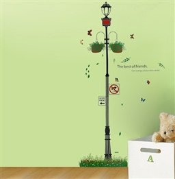 Street Lamp Pot Flower And Butterflies Road Sign Pattern Removable Wall Stickers