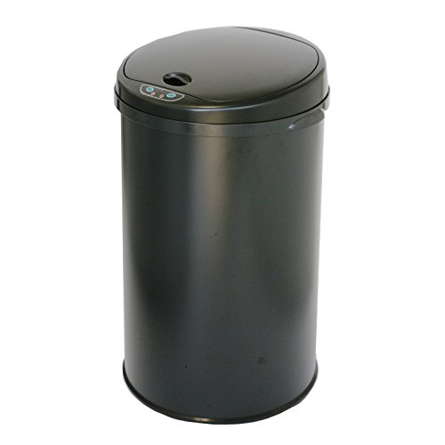 iTouchless Round Sensor Matte Deodorizer Finish Trash Can, 8-Gallon, Black (Wine Barrel Garbage Can compare prices)