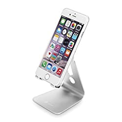 iClever IC-CS01 Desktop Aluminum Stand for Cellphone, Tablet, E-reader and More, Adjustable Viewing Angle, Silver