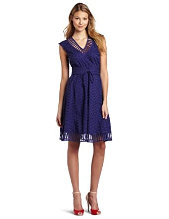 Plenty by Tracy Reese Women's Peek-A-Boo Frock, Faded Navy, Petite