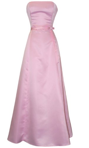 50S Strapless Satin Long Gown Bridesmaid Prom Dress Formal Junior Plus Size, 2X, Pink