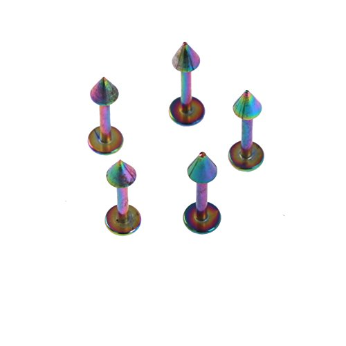 Surker (5Pcs)5/16 Inches (8Mm) Long - Rainbow Anodized Stainless Steel Lip Bar Labret Ring Bj00182A(5)