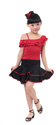 AveryDance Girl's Off Shoulder Latin Dance Dress Costumes Set