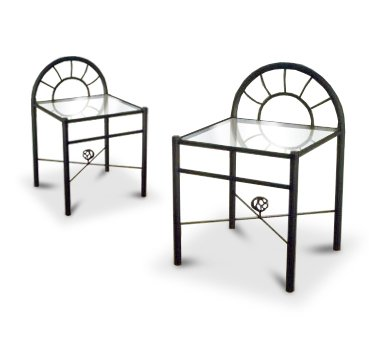 New  Black Metal Nightstands Glass End Tables with Sunburst Arches