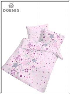 Fein Biber Baby Bettwäsche Sterne Stars rosa lila grau - Größe 40x60 + 100 x 135 cm - hergestellt in Deutschland