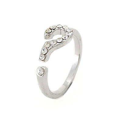 PEISHI J Diamond Opening Question Mark Fashion Women's Ring(Color Random,Number of Random)