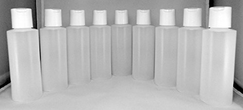Earth'S Essentials Nine Pack Of Refillable 4 Oz. Squeeze Bottles With One Hand Press Cap Dispenser Tops. Great For Dispensing Lotions, Shampoos And Massage Oils.