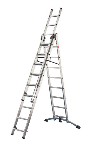 Hailo Aluminium Combi Ladders - 2 x 9 + 1 x 8 Rungs