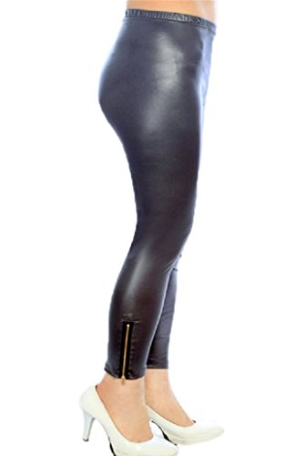 Shosho Womens Plus Size Faux Leather Leggings with Zippers 3X/4X Charcoal