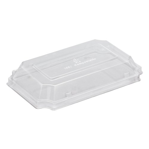 """Hoffmaster 760133 Earth Wise Tree Free Stackable Small PLA Lid for Sushi/Deli Tray, 7-1/4"""" Length x 4-1/2"""" Width x 1-1/4"""" Height, Clear (Case of 500)"""