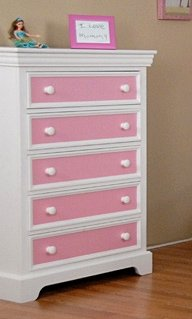 Girls' 5-Drawer Wood Chest in White Finish w