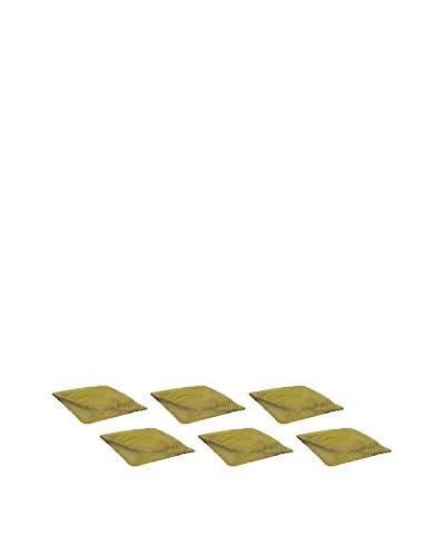 10 Strawberry Street Set of 6 Zeus Amber 11.5 Square Glass Dinner Plates